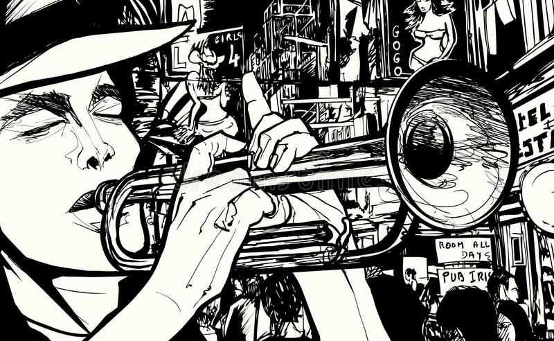 Uomo che gioca tromba in un quartiere a luci rosse illustrazione di stock