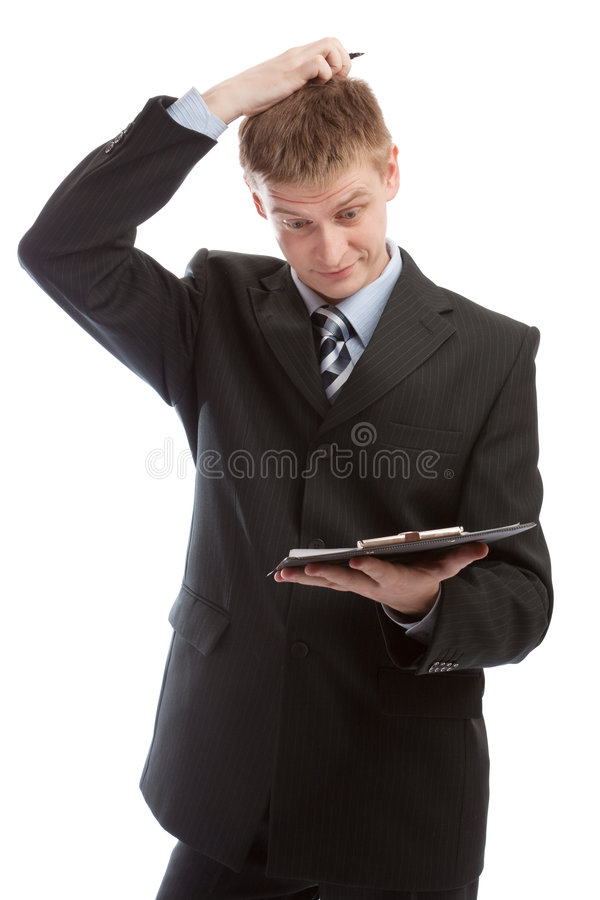Uomo che graffia la sua testa immagine stock
