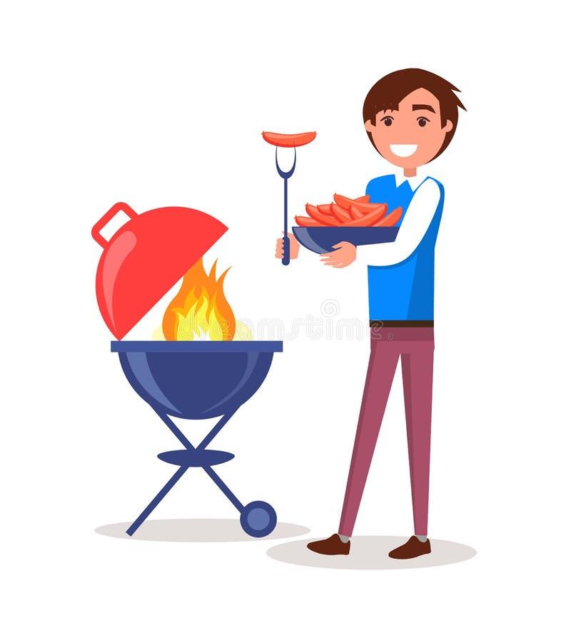 Uomo che griglia iIllustration di vettore del barbecue delle salsiccie royalty illustrazione gratis