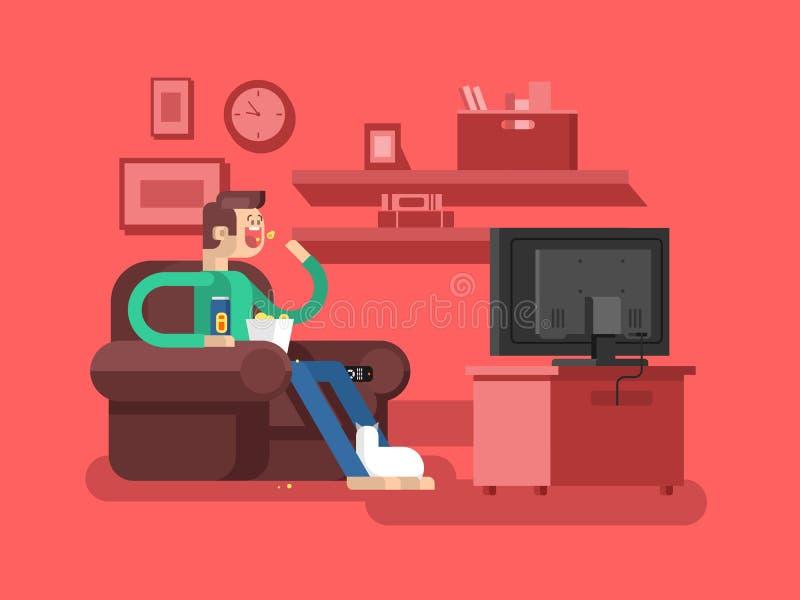 Uomo che guarda TV royalty illustrazione gratis