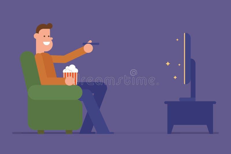 Uomo che guarda TV illustrazione vettoriale