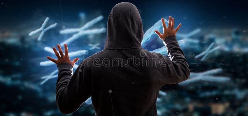 Uomo che incide un gruppo di cromosoma con l'interno del DNA sulla a immagini stock libere da diritti