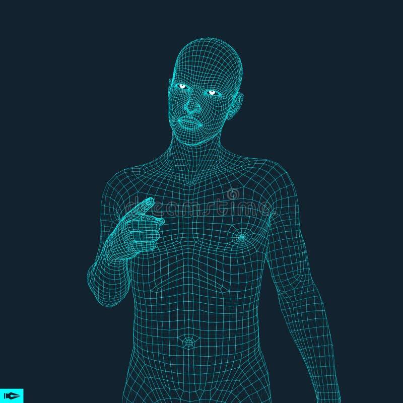Uomo che indica la sua barretta modello 3D dell'uomo Progettazione geometrica Illustrazione di vettore pelle poligonale della cop illustrazione di stock
