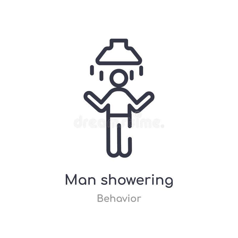 uomo che inonda l'icona del profilo linea isolata illustrazione di vettore dalla raccolta di comportamento uomo sottile editabile royalty illustrazione gratis