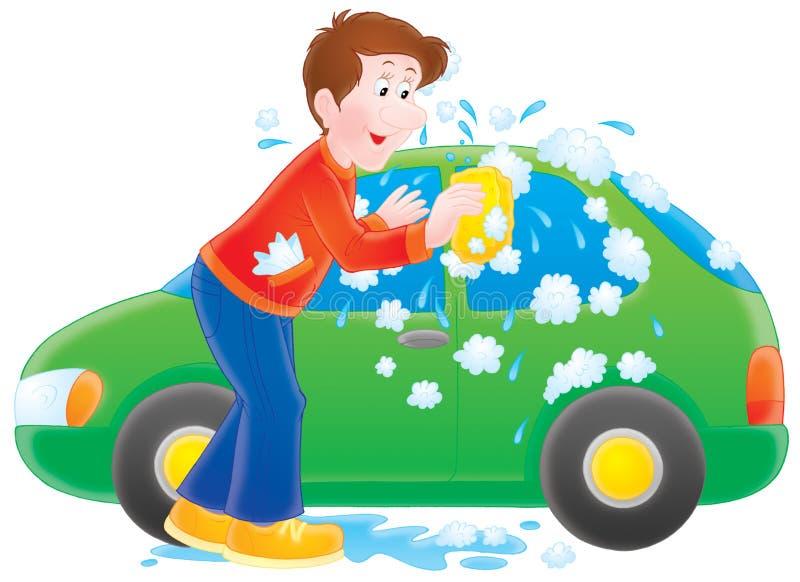 Uomo che lava la sua automobile illustrazione di stock