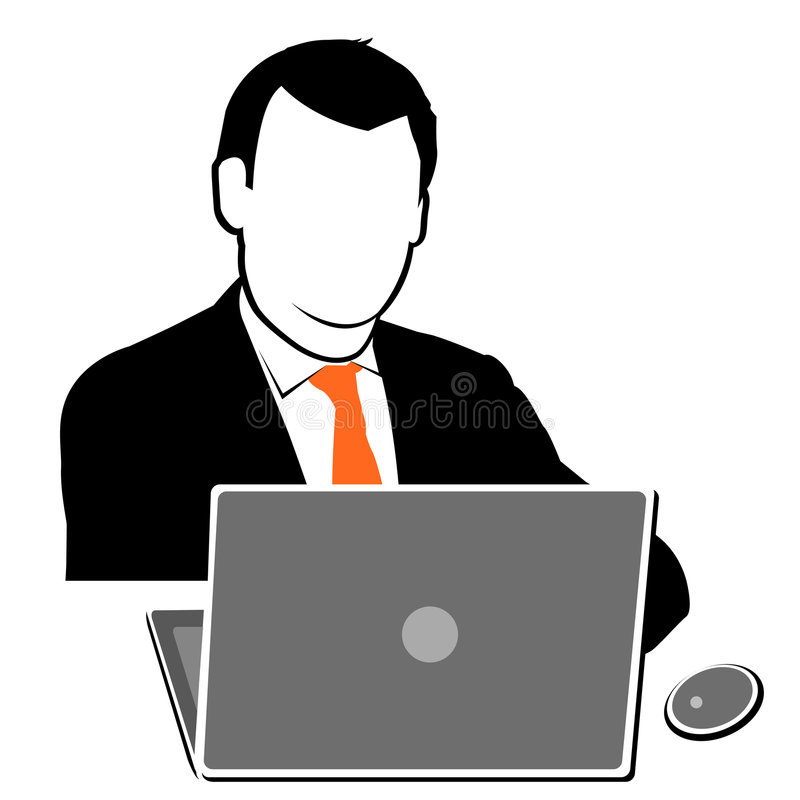 Uomo che lavora al computer portatile illustrazione di stock
