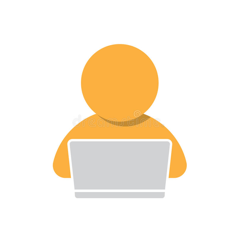 Uomo che lavora all'icona del computer royalty illustrazione gratis