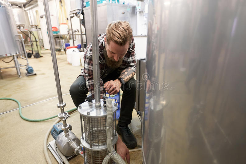 Uomo che lavora alla fabbrica di birra della birra del mestiere fotografia stock libera da diritti