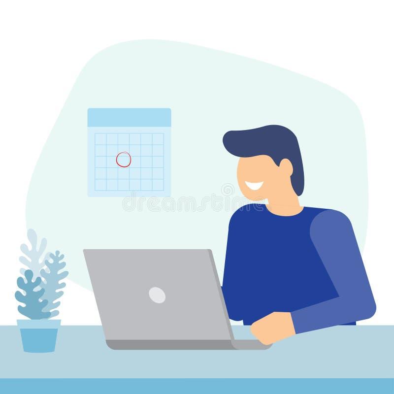 Uomo che lavora con il computer portatile royalty illustrazione gratis