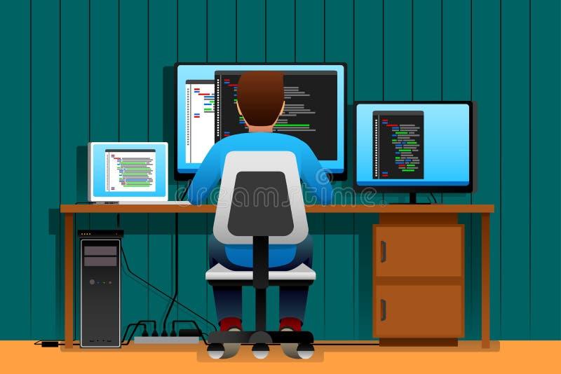 Uomo che lavora davanti al suo computer royalty illustrazione gratis