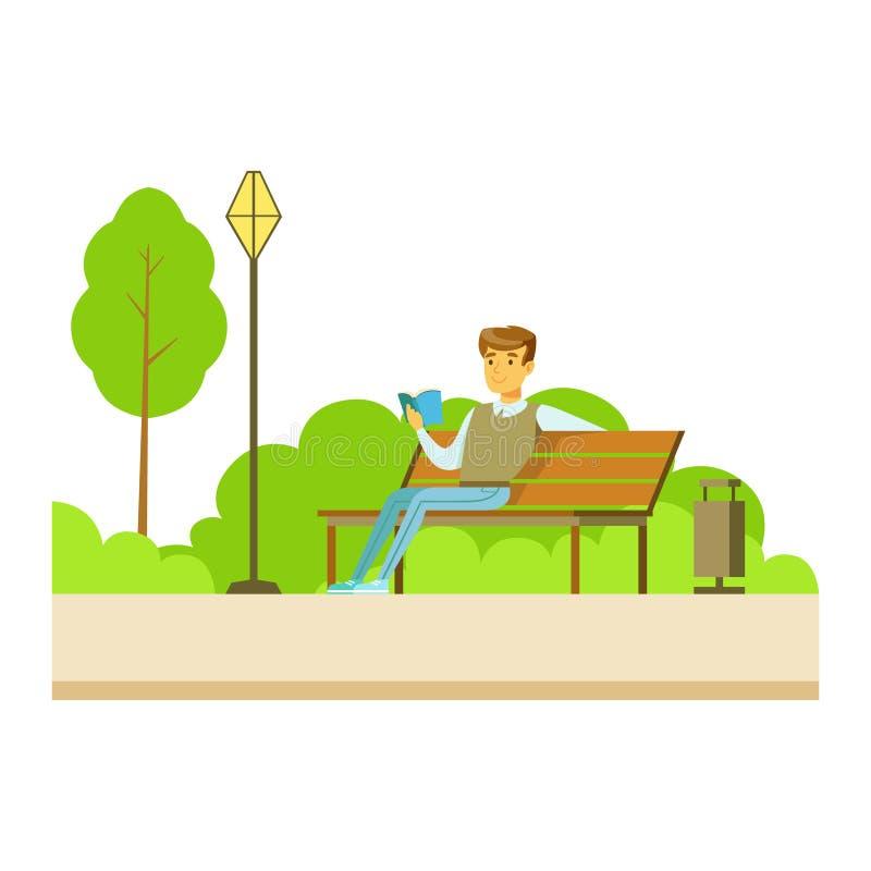 Uomo che legge un libro sul banco, parte della gente in serie di attività del parco royalty illustrazione gratis
