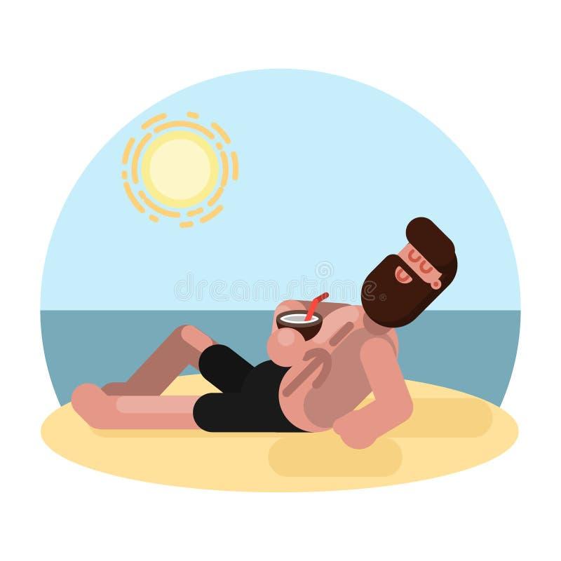 Uomo che mette su spiaggia con il cocktail illustrazione di stock