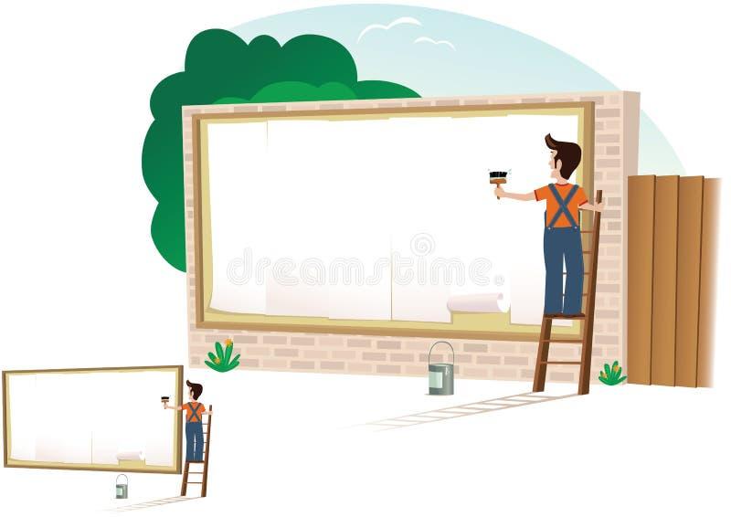 Uomo che mette sul manifesto illustrazione di stock