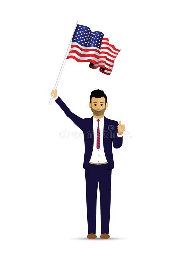 Uomo che ondeggia una bandiera degli S.U.A. illustrazione vettoriale