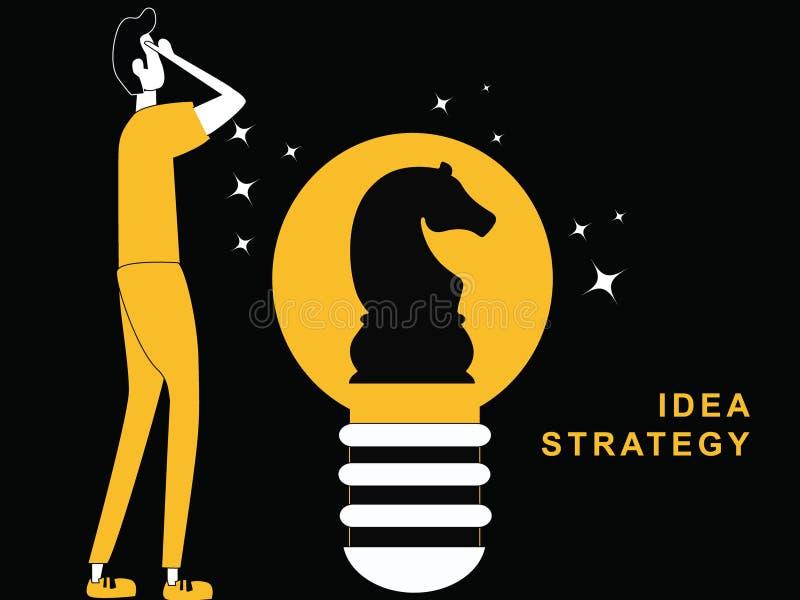 Uomo che pensa con una lampadina di idea illustrazione vettoriale