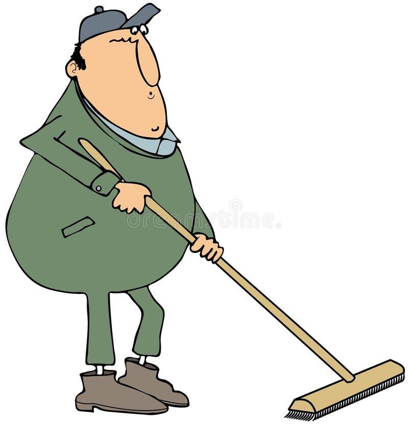 Uomo che per mezzo di una scopa di spinta illustrazione di stock