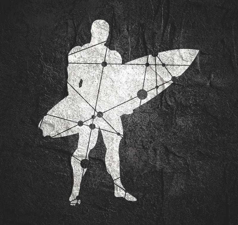 Uomo che posa con il surf illustrazione vettoriale