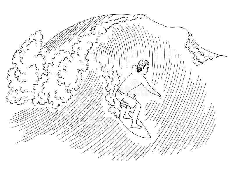 Uomo che pratica il surfing su un vettore bianco nero grafico dell'illustrazione di schizzo dell'onda del mare illustrazione vettoriale