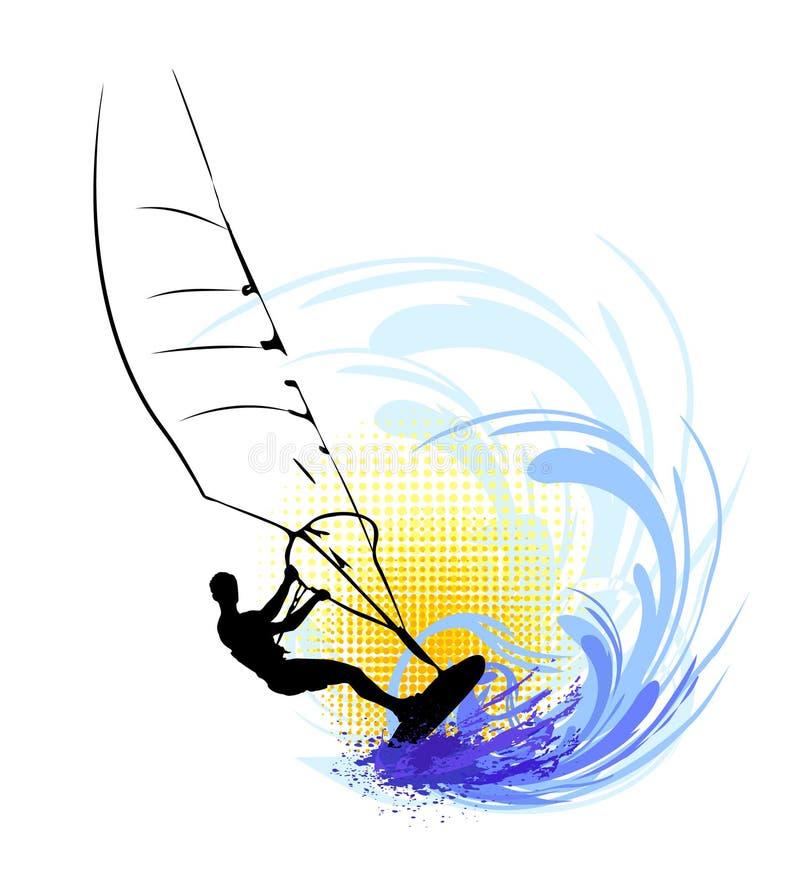 Uomo che pratica il surfing sull'onda di oceano illustrazione vettoriale