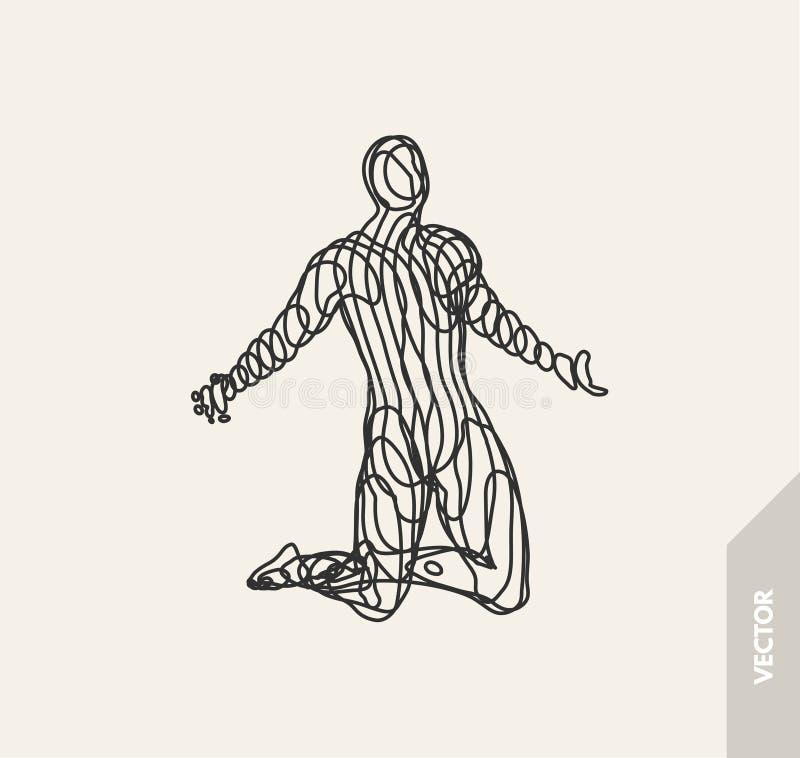 Uomo che prega modello 3D dell'uomo Illustrazione di vettore Struttura del collegamento del cavo illustrazione di stock