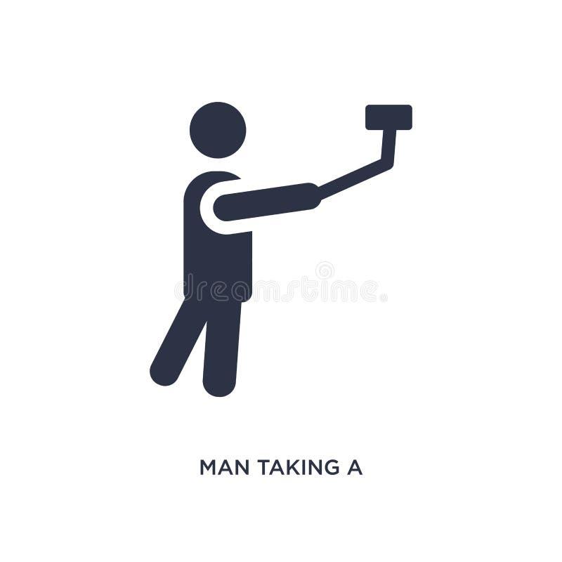 uomo che prende un'icona del selfie su fondo bianco Illustrazione semplice dell'elemento dal concetto di comportamento illustrazione di stock