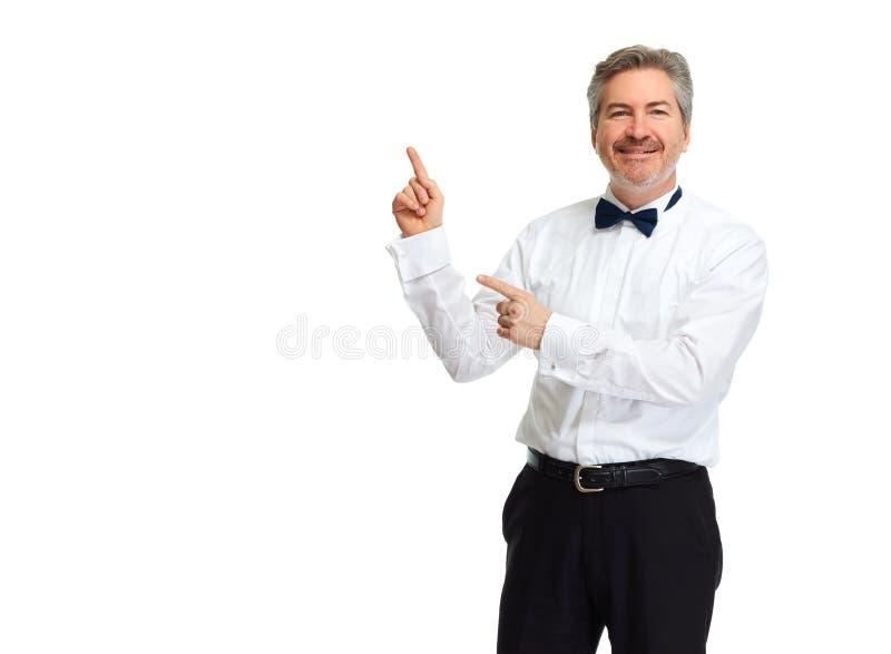 Uomo che presenta lo spazio della copia fotografia stock