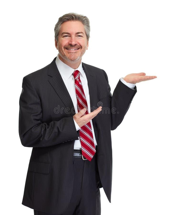 Uomo che presenta lo spazio della copia immagini stock libere da diritti