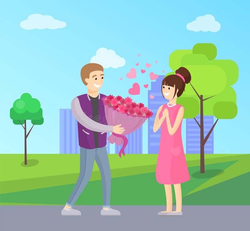 Uomo che presenta mazzo di lusso dei fiori alla donna royalty illustrazione gratis