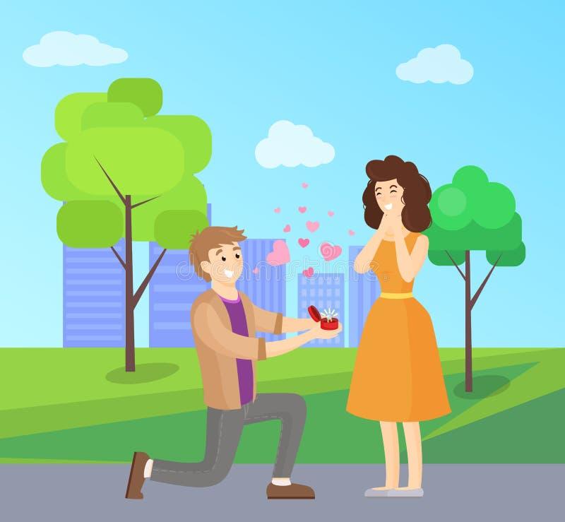 Uomo che presenta proposta alla donna, illustrazione di vettore royalty illustrazione gratis
