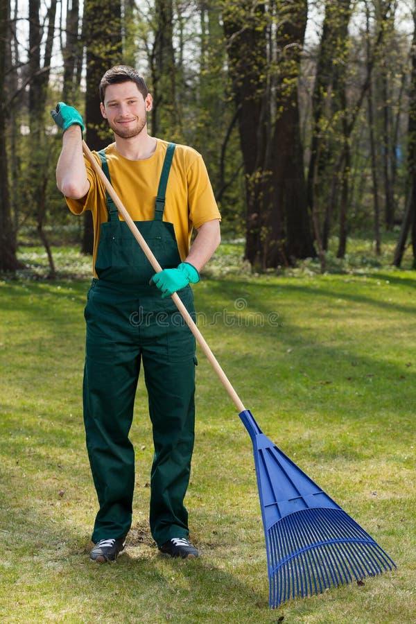 Uomo che rastrella i fogli in giardino fotografia stock