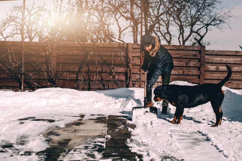 Uomo che rimuove neve dal marciapiede dopo le precipitazioni nevose Ritratto dell'uomo con il cane durante l'orario invernale fotografia stock