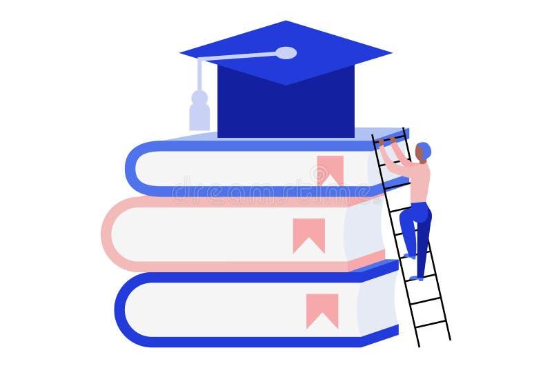 Uomo che scala una scala Uomo che scala sui libri giganti per raggiungere il cappuccio di graduazione Concetto online di istruzio illustrazione vettoriale
