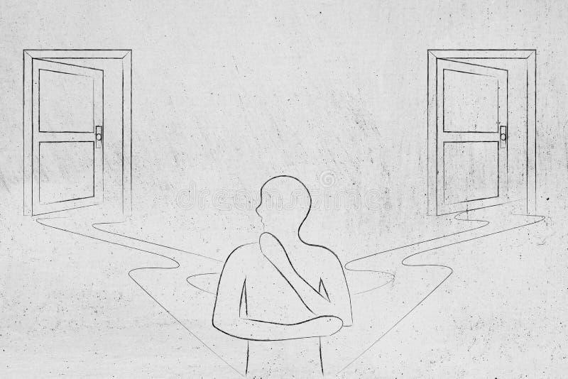 Uomo che sceglie fra 2 porte come scelte differenti di vita illustrazione vettoriale