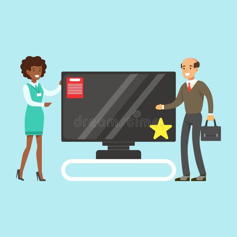 Uomo che sceglie TV con aiuto del commesso nell'illustrazione variopinta di vettore del deposito degli apparecchi royalty illustrazione gratis