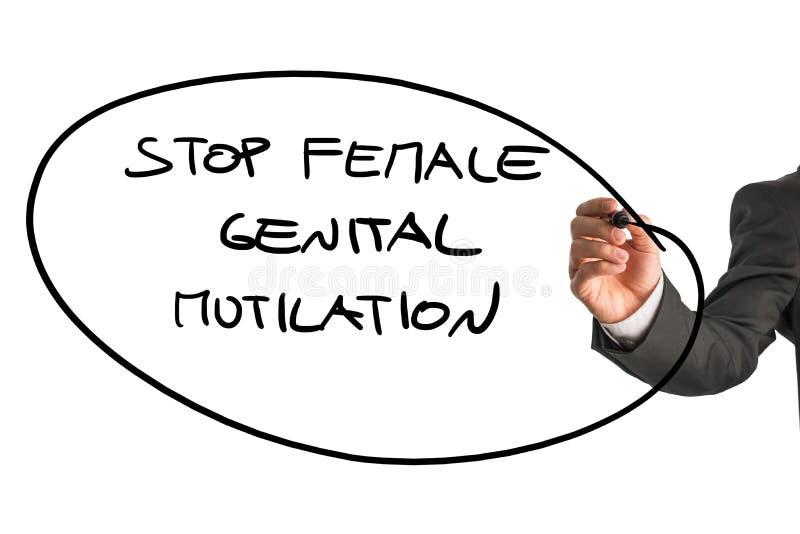 Uomo che scrive ad una fermata del segno mutilazione genitale femminile immagini stock libere da diritti