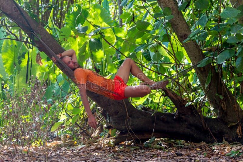Uomo che si distende in hammock fotografie stock libere da diritti