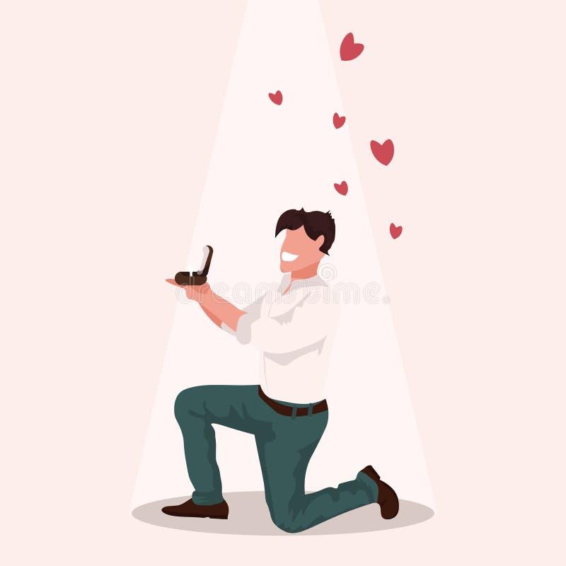 Uomo che si inginocchia tenendo anello di fidanzamento che propone di sposarlo tipo felice di concetto di giorno di biglietti di  royalty illustrazione gratis