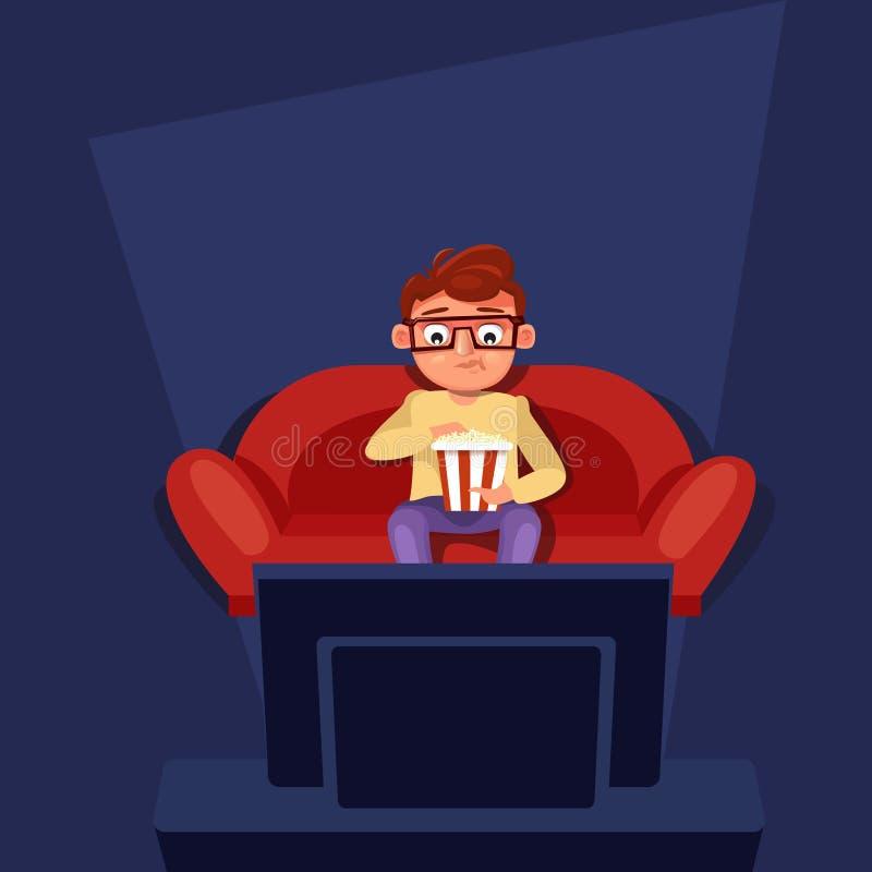 Uomo che si siede all'orologio TV dello strato che mangia popcorn illustrazione vettoriale