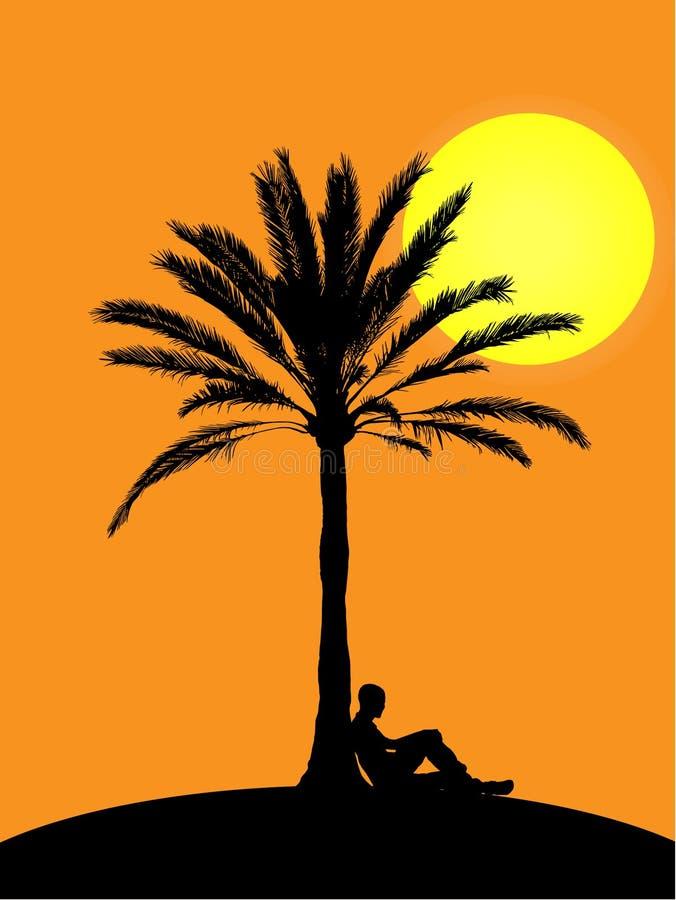 Uomo che si siede alla palma nel tramonto illustrazione di stock