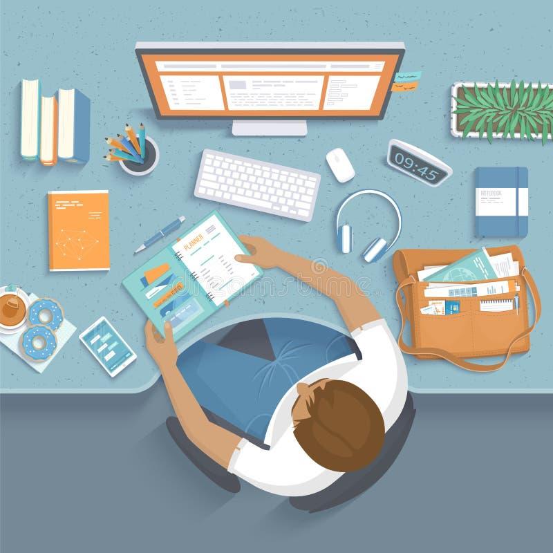 Uomo che si siede alla tavola di legno Poltrona da tavolino dell'area di lavoro del posto di lavoro, articoli per ufficio, monito illustrazione vettoriale
