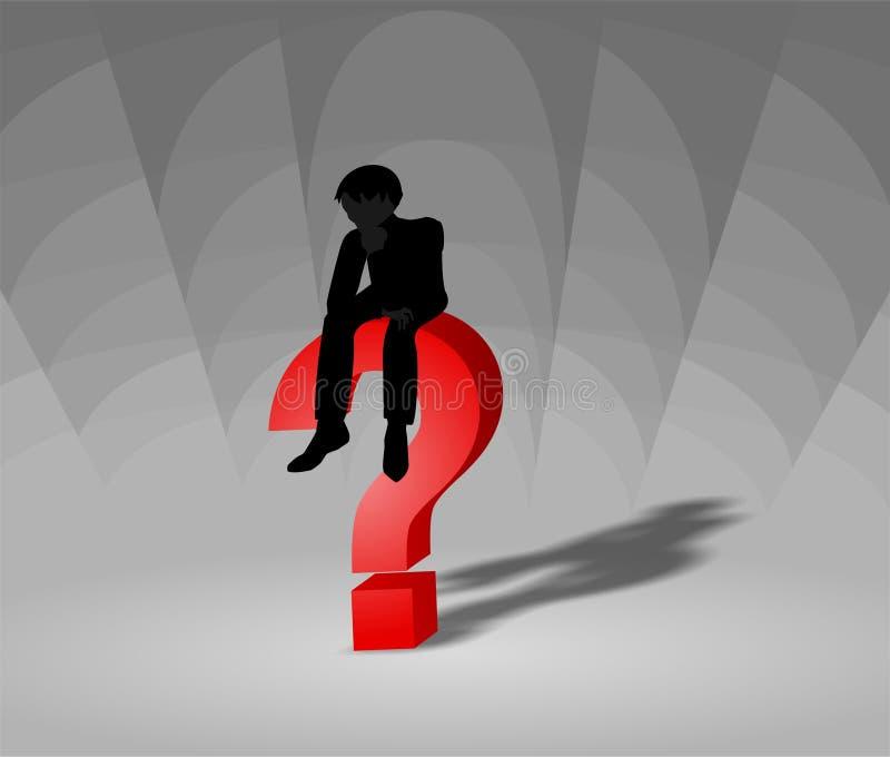 Uomo che si siede su un punto interrogativo rosso 3d che pensa profondamente illustrazione di stock