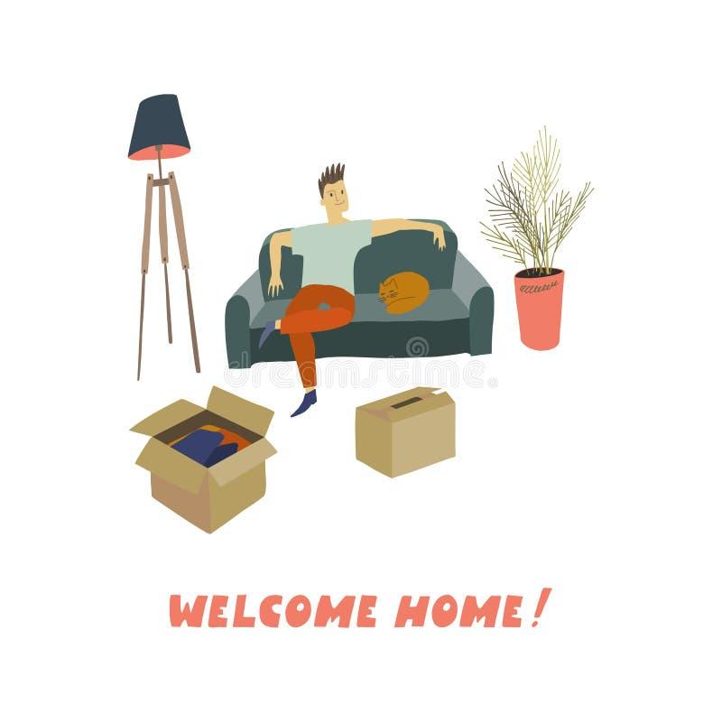 Uomo che si siede sul sofà con il gatto di sonno Scatole di cartone sulla rimozione del pavimento in una casa royalty illustrazione gratis