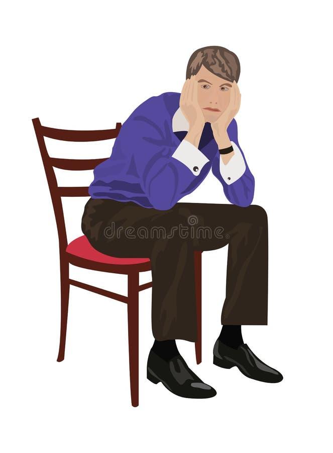 Uomo che si siede sulla presidenza e sul pensiero royalty illustrazione gratis
