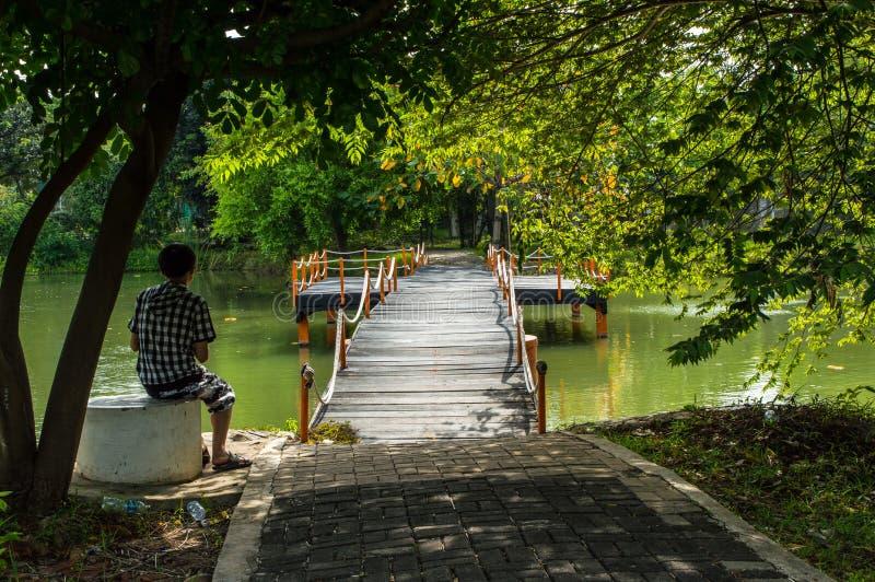 Uomo che si siede sulla riva del lago che guarda il ponte fotografie stock