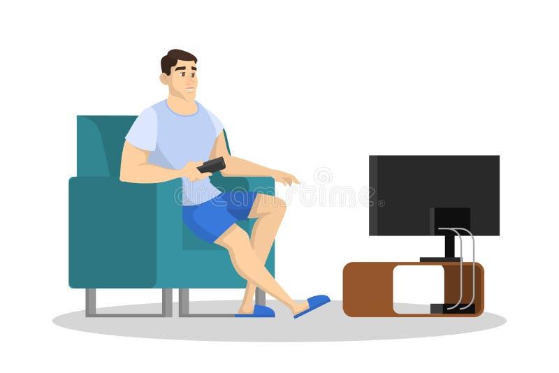 Uomo che si siede sullo strato e sull'orologio TV Il tipo passa il tempo illustrazione vettoriale