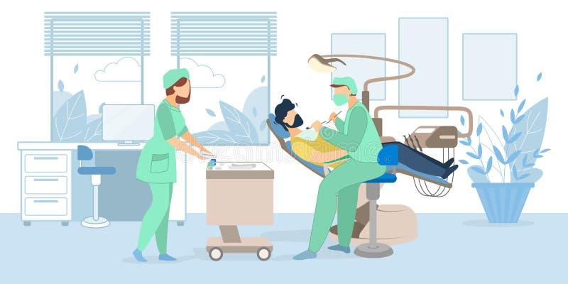 Uomo che si trova in Governo medico dello stomatologo della sedia royalty illustrazione gratis