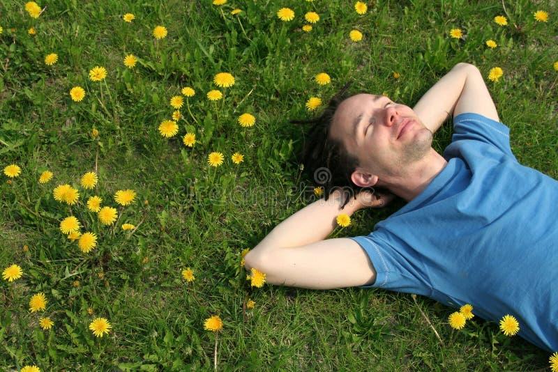 Uomo che si trova sull'erba immagini stock libere da diritti