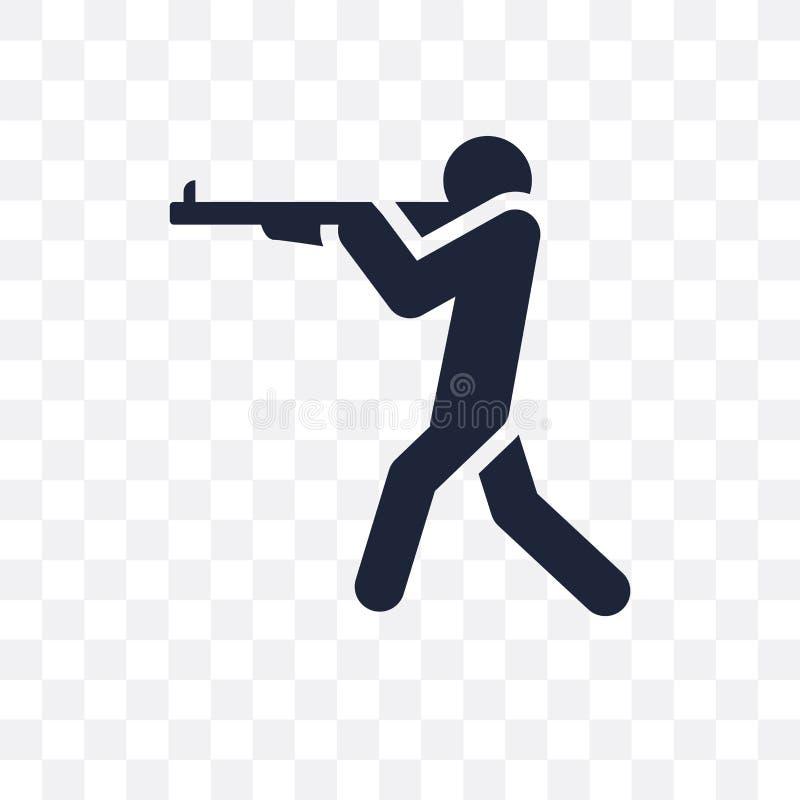 uomo che spara icona trasparente progettazione di simbolo della fucilazione dell'uomo dalla P illustrazione di stock