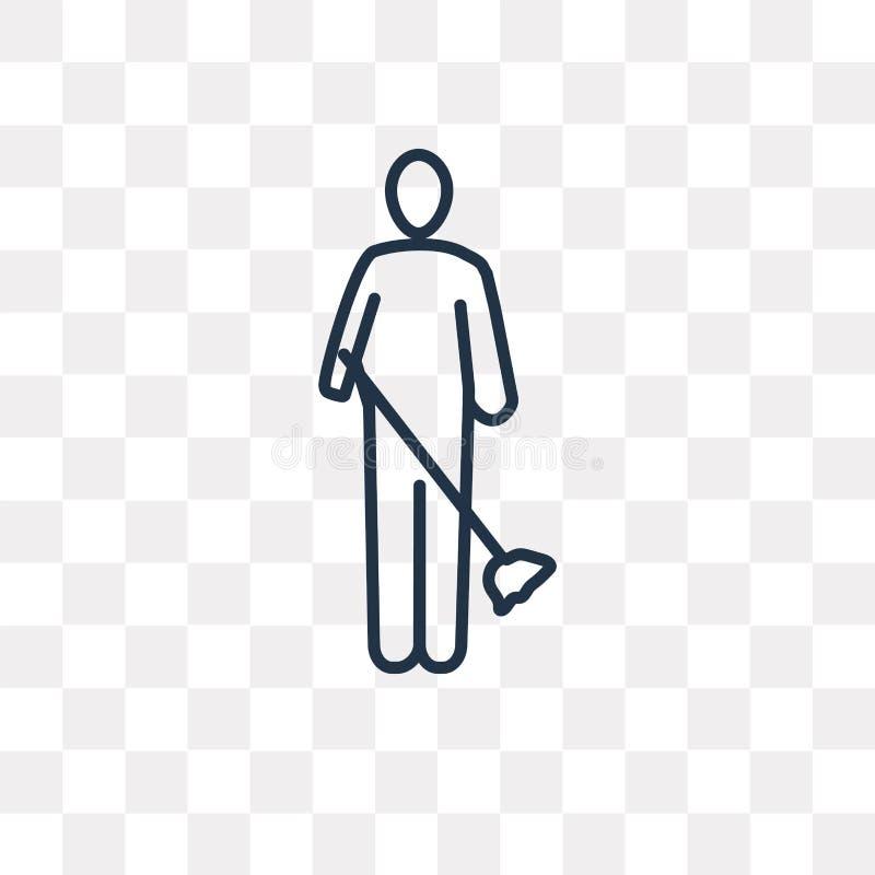 Uomo che spazza l'icona di vettore isolata su fondo trasparente, Lin illustrazione vettoriale