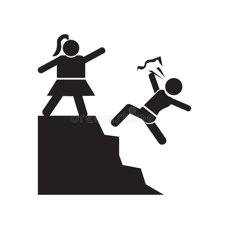 Uomo che spinge il segno e simbolo di vettore dell'icona del bambino isolati su fondo bianco, uomo che spinge concetto di logo de illustrazione di stock